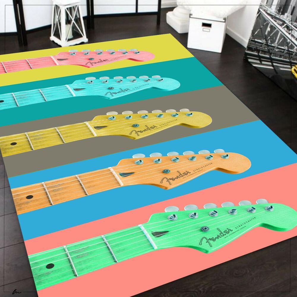 Alfombra con estampado de guitarra, alfombra antideslizante para suelo, alfombra para adolescentes, alfombra turca