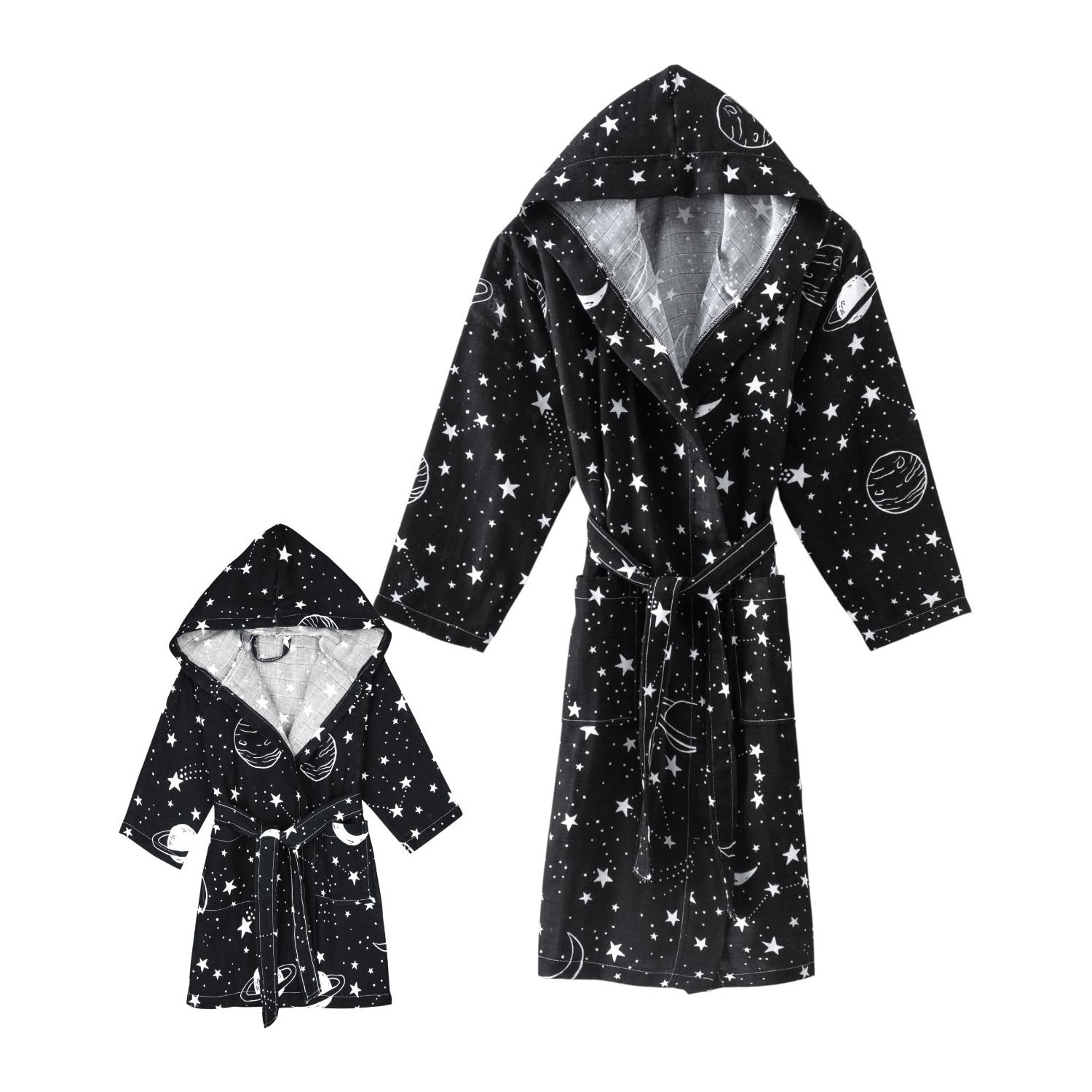 Home&bath Parent&child 2-pack Cotton Muslin Bathrobe Hubble For 5 year Old Children And Parents