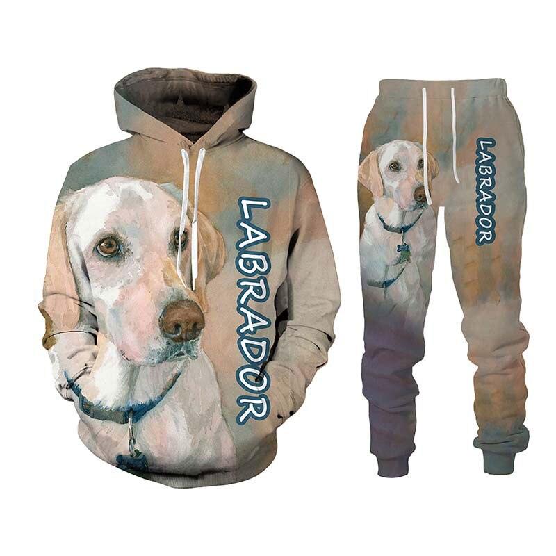 الربيع والخريف موضة لطيف ثلاثية الأبعاد الكلب طباعة هوديي والسراويل قطعتين بدلة دافئة