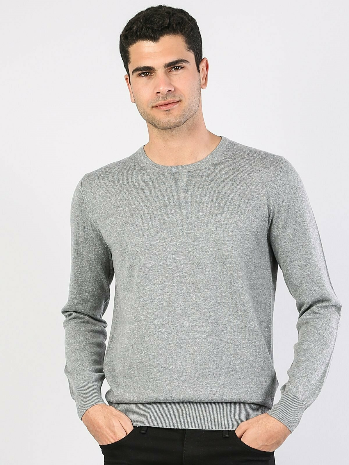 Colins Men Regular Fit Grey Heather SweatersMen's sweater fashion sweater outerwear,CL1023186