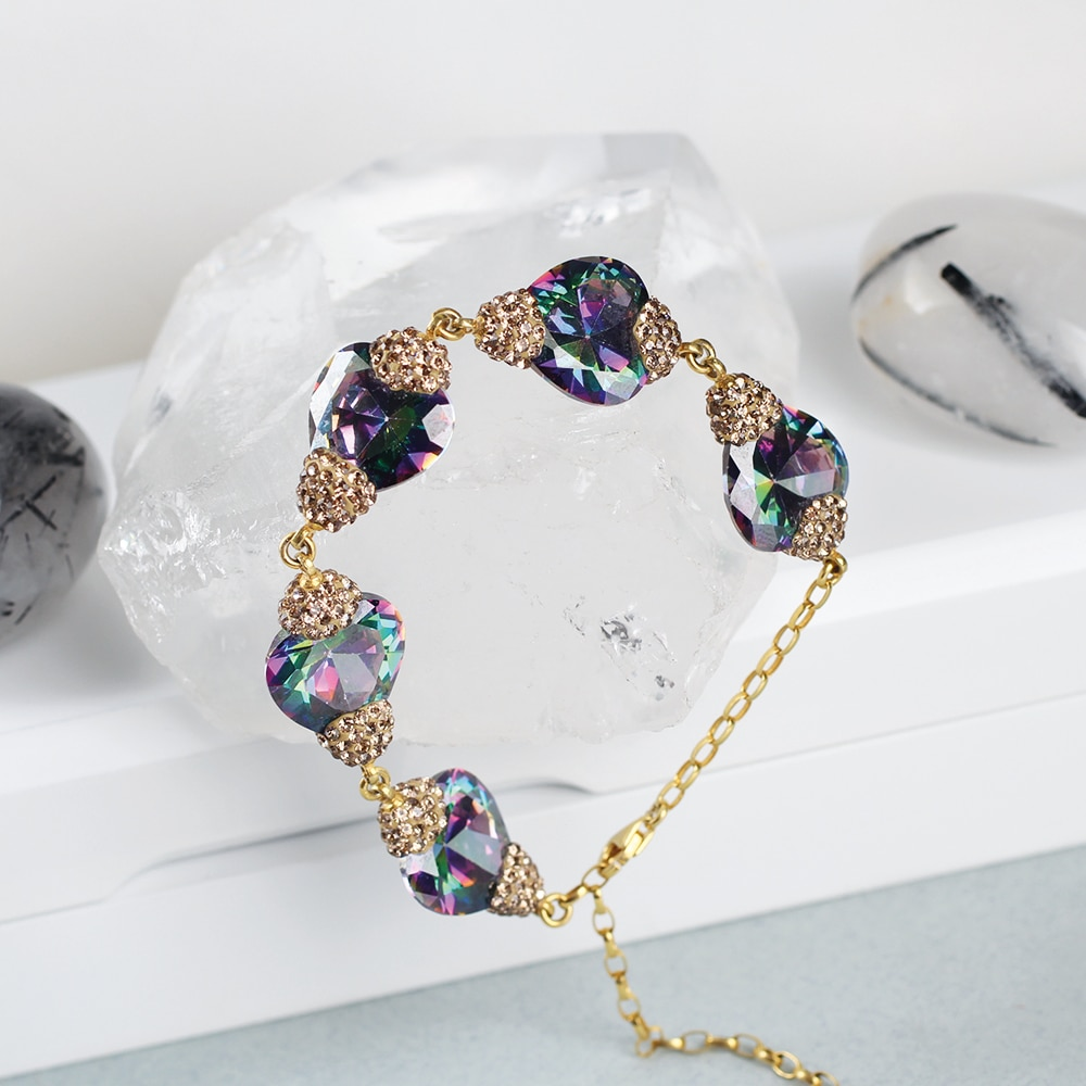 Herd Förmigen Mystic Topaz Armband, Frau Silber Mystic Topaz Armband, Silber Frau Armband