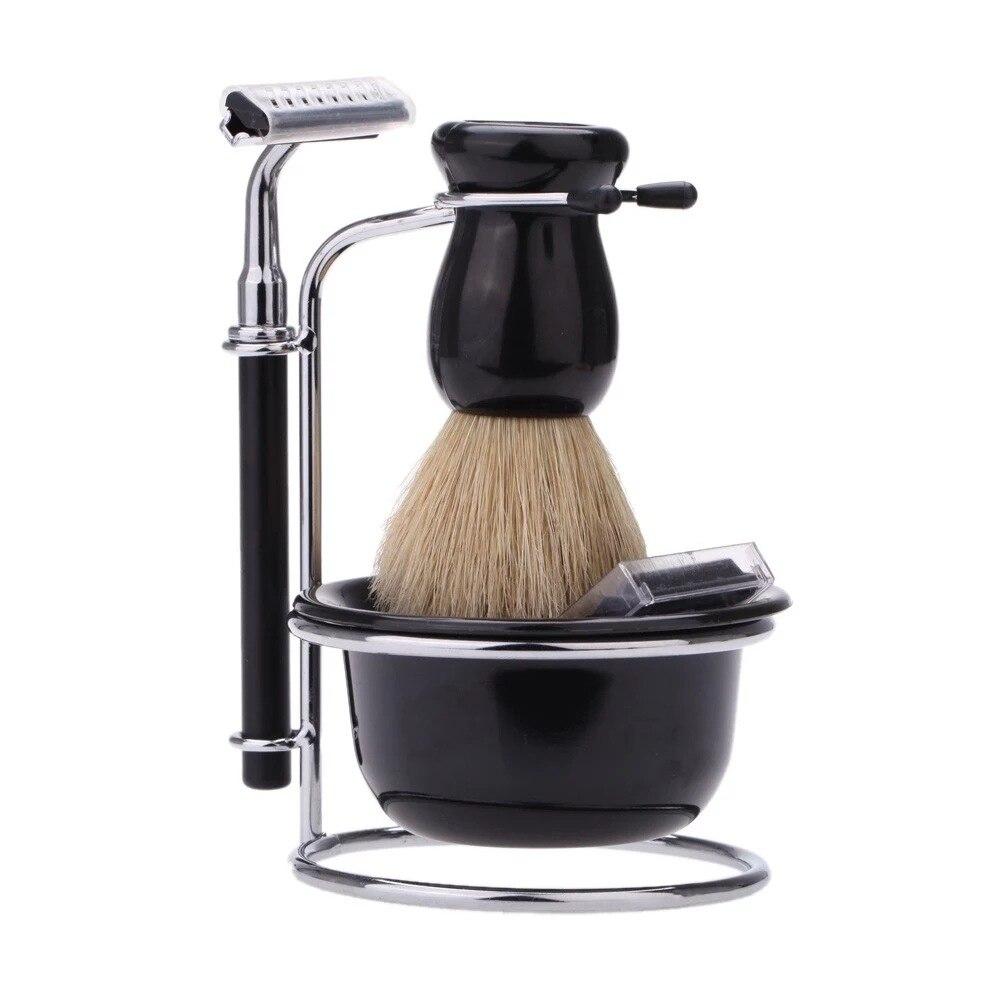 4 En 1 Juego de cuenco de cepillo de cerdas de soporte de afeitado negro y maquinilla de afeitar de seguridad para hombres