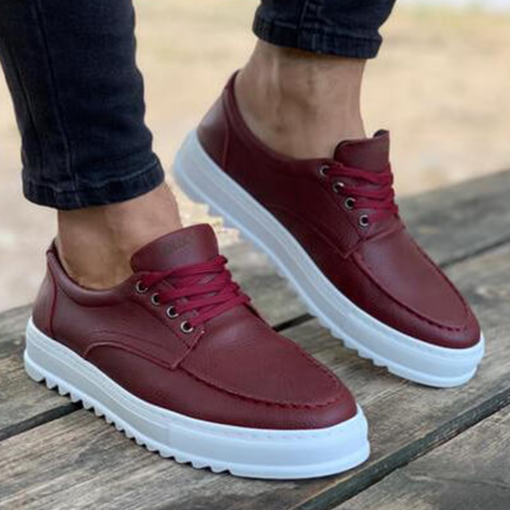 Knack Men's Shoes Claret Red Color Casual Shoes Lace-up Closure Artificial Leather Flexible Lightweight Spring Fall Seasons Daily Sneakers Original Outdoor Shoes High Quality Luxury Brand Cozy Elegant Dazzling T12