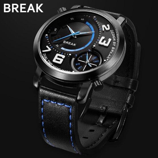 Reloj de cuarzo para hombre con correa de cuero Break 3023