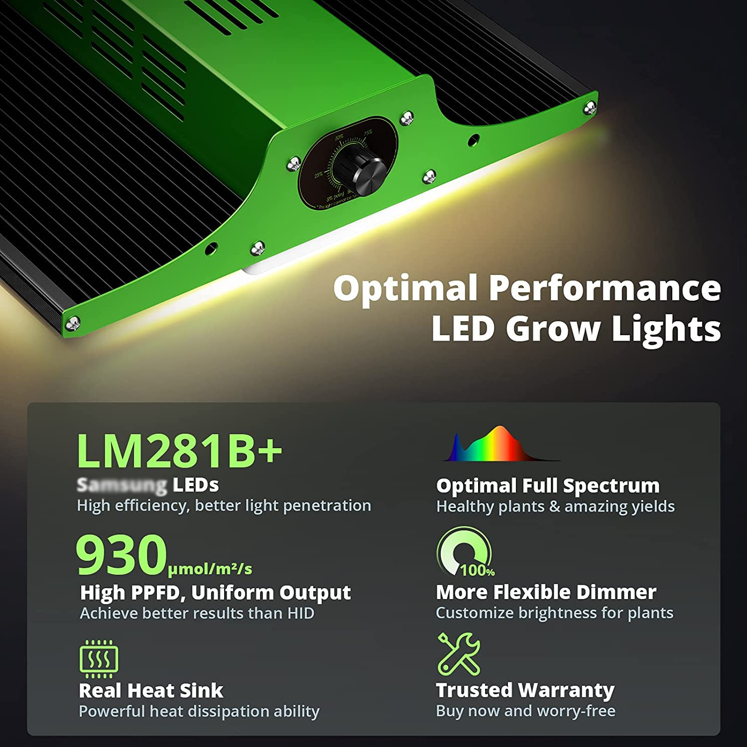 LED Grow Light, ZFR 600 LED Grow Light with SAMSUNG LM301B LEDs (Includes IR) 2x2ft Coverage, Full Spectrum Dimmable Led Bloom enlarge