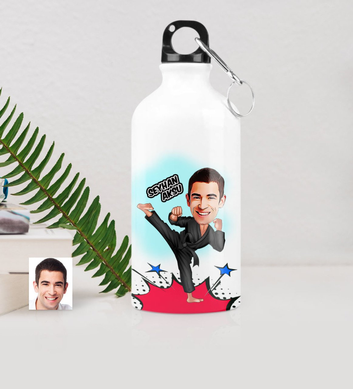 Taza de agua personalizada con caricatura de Mr Karateka (500 ml)