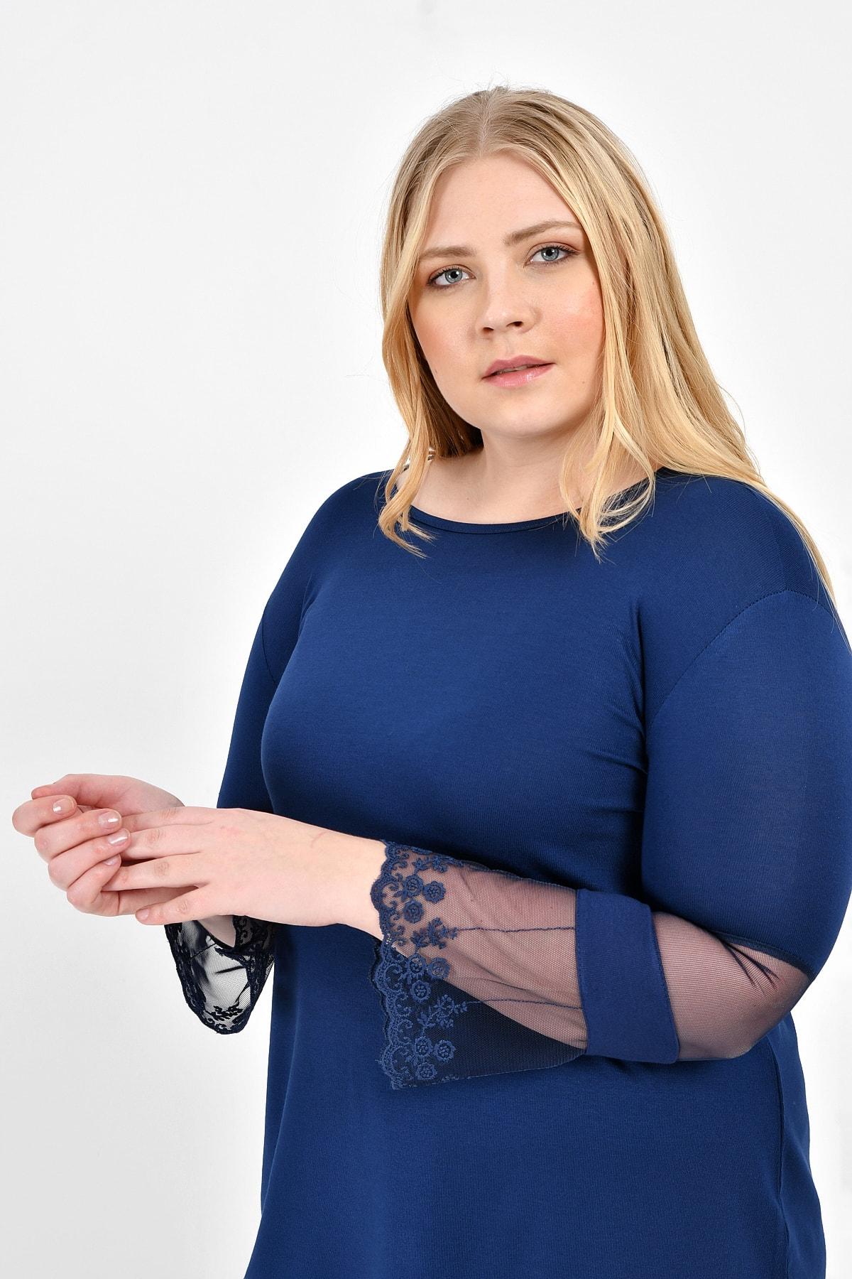 Big Free Women S Sleeves Tulle Tip Nakıslı Spaniard Sleeve Blouse TB20KB450769