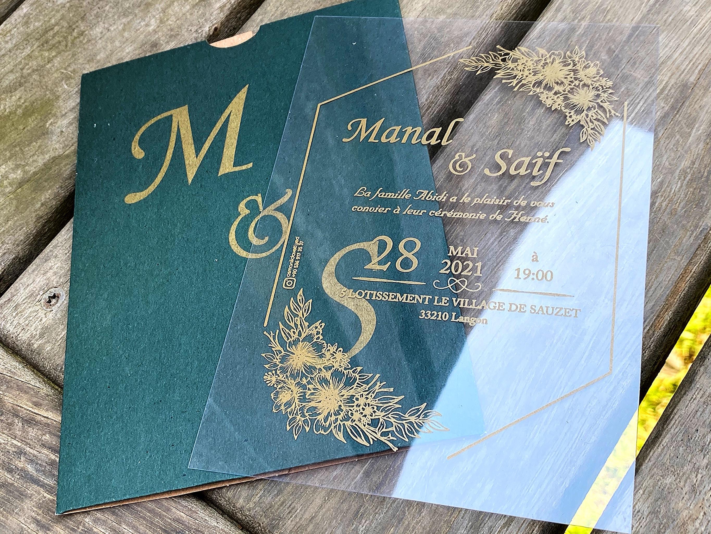 50 pcs 2 Color selectable transparent wedding, wedding invitation