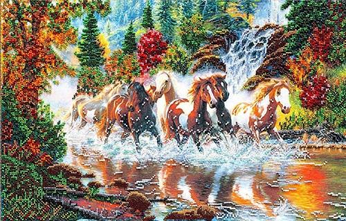 АВ-278 Набор для вышивания бисером Абрис Арт Семерка лошадей, 51*32 см