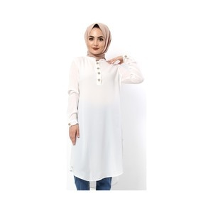 Hijab World Button Araboy Hijab Tunik TSD1044 White