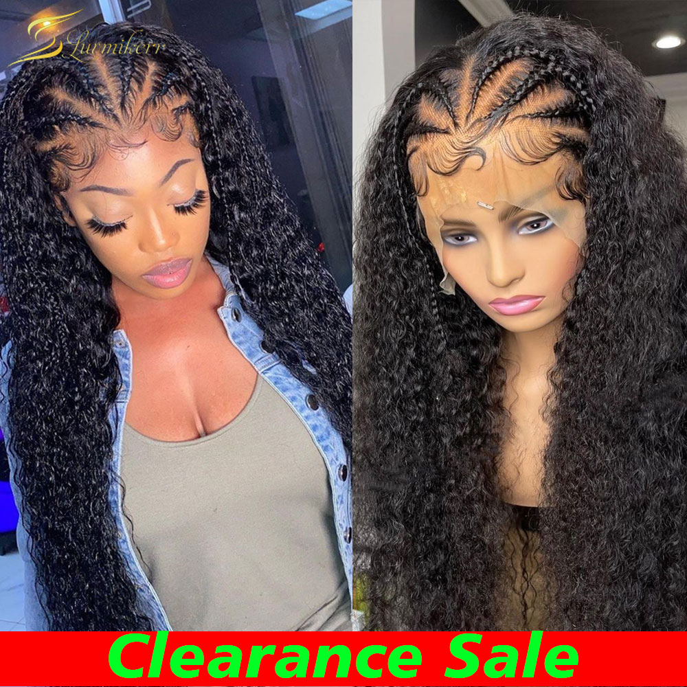 360 Deep Wave Frontal Wig Preplucked HD Water Wave Curly Human Hair Wig Full 13x6 Closure Lace Front Wig Braided For Black Women