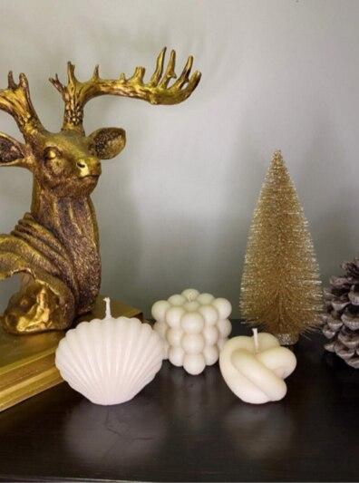 Набор из 3 декоративных ароматизированных свечей белого цвета, натуральный, не дымит, подарок, ароматсветильник
