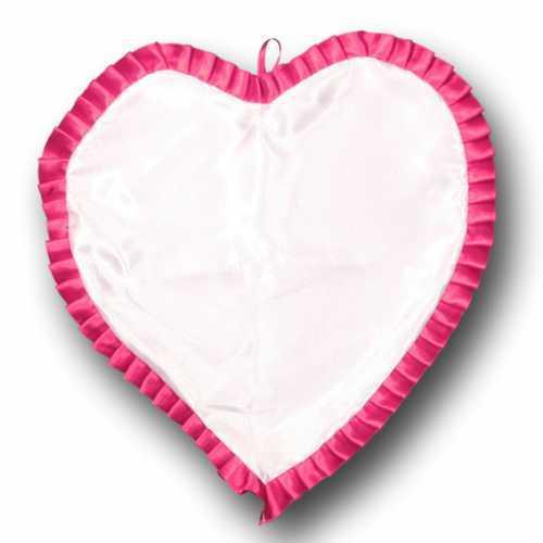 Almohada de corazón de satén de sublimación de YAS-06-rosa con volantes