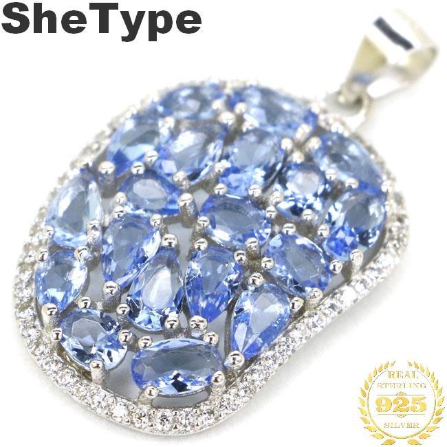 31x13mm Elegant 3.5g Created Rich Blue Violet Tanzanite White CZ Ladies Party 2019 European Style 925 Sterling Silver Pendant