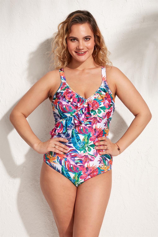 Ola Chicas Plus Size Thin Straps Frilly Swimsuit For Women Large Xl Xxl 3xl 4xl 5xl 6xl With Options 2021 Swimwear