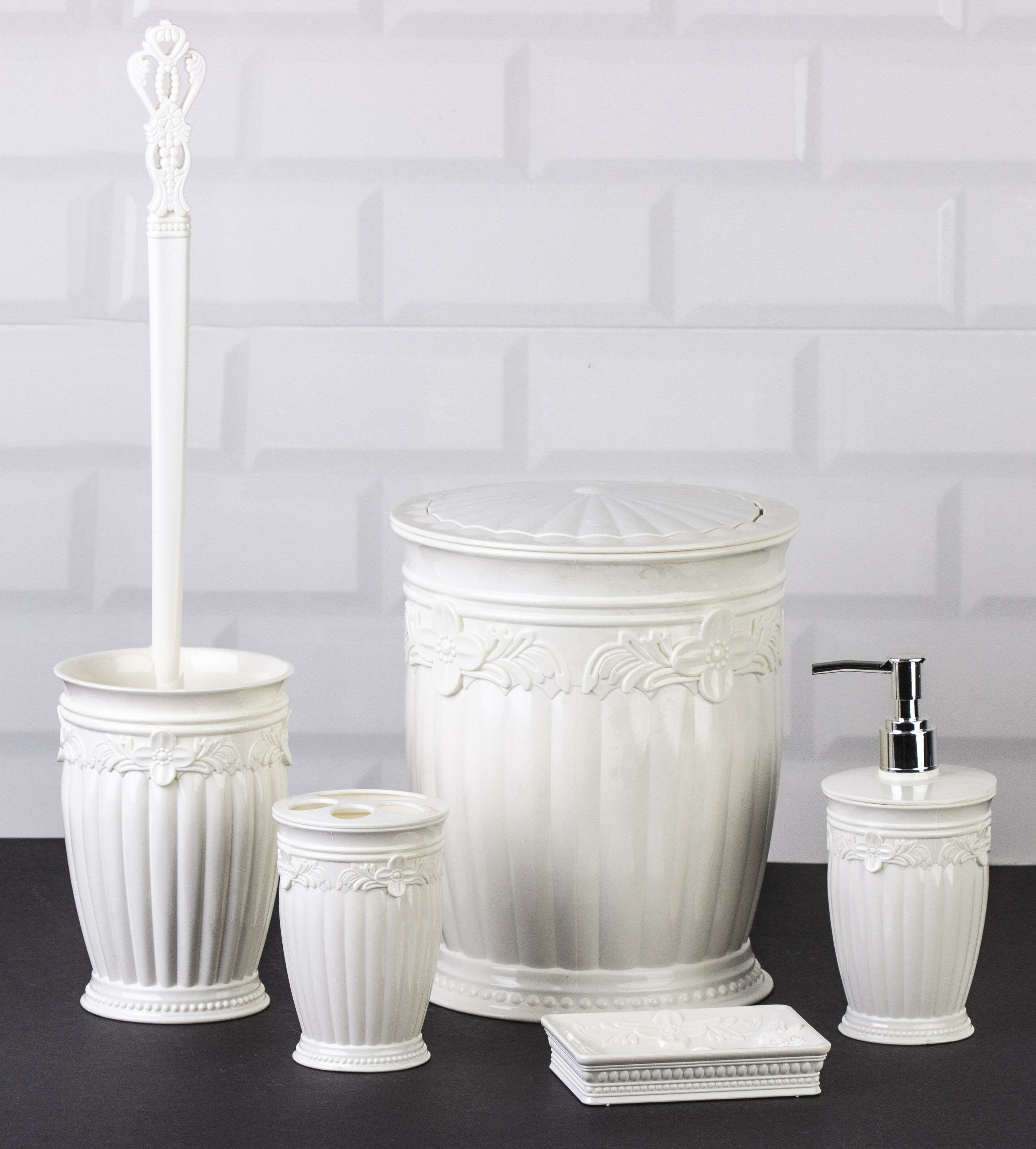 OceanLand Sultan Series 5 Pcs Bathroom Set Hard Plastic Toothbrush Holder Soap Dispenser Toilet Brush Dustbin enlarge