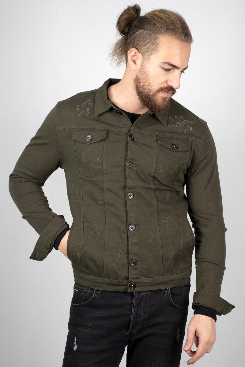 Abrigo deportivo de color caqui para hombre de DeepSEA, ajustado, ajustado, con botones, para otoño, invierno, Primavera, Gündelik2005035