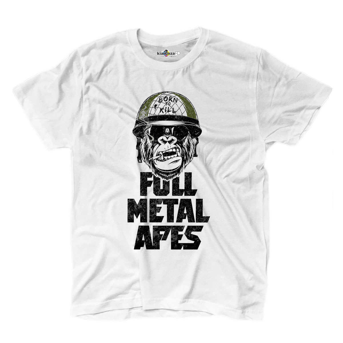 T-shirt Full Metal Apes Jacket Monkey Born To Kill Bullet Film Movie S White
