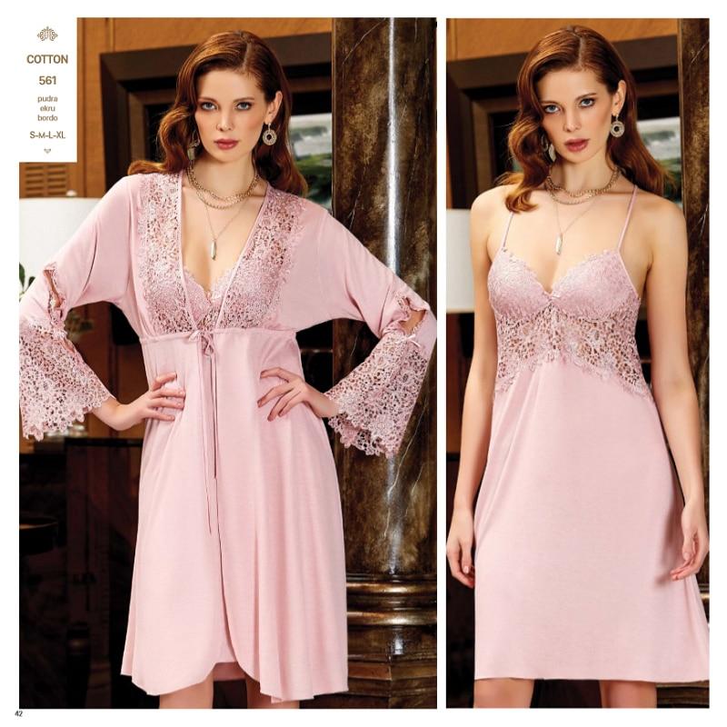 JEREMI 561 6 Pieces COTTON Sets Women Bride Trousseau Dowry Sexy Lace Robe Sleepwear Kit Nightwear Pyjamas, Gift Turkish