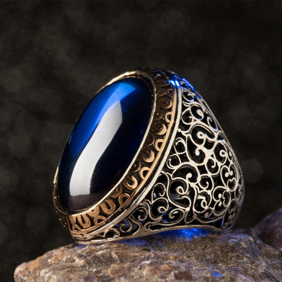 925 Sterling Large Silver Symmetrical Design Ring with Blue Oval Zircon Stone Fashion Turkish Premium Quality Handmade Jawelery