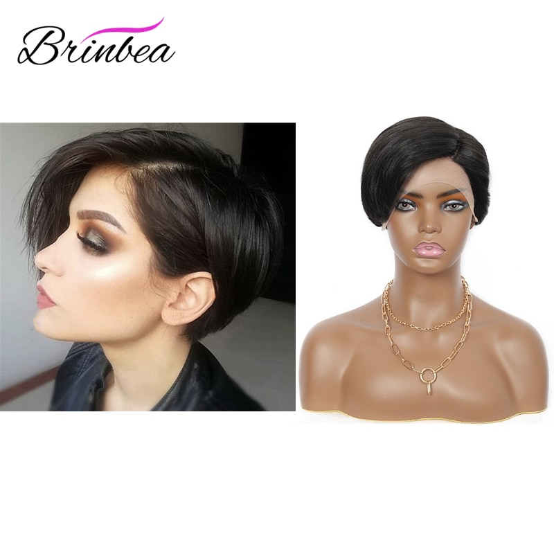 Brinbea 10 Inches  Lace Front  Bob Wavy wig With Side Bangs  Short Natural Black Straight Synthetic Wig  For Black Women