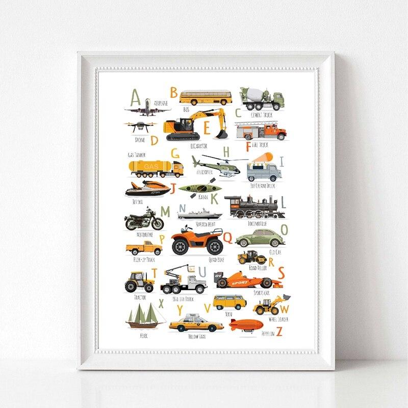 Cars-impresiones del alfabeto para niños, cartel educativo, letras de aprendizaje, ABC, transporte,...
