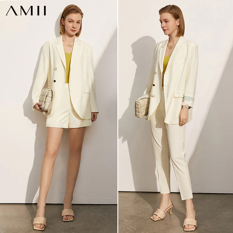 Amii Minimalism Spring Summer Women Suit Offical Lady Lapel Solid Blazer Women Causal Women Suit Pants Female Shorts 12140122