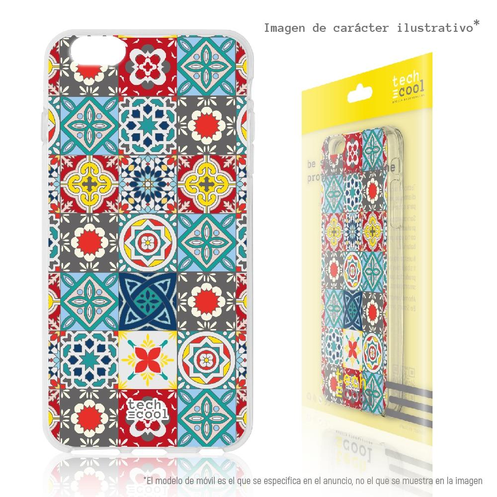 FunnyTech® Funda Silicona para LG Q6 / Q6+ / Q6 alpha l Mosaico floral vers.4
