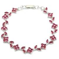 17x9mm shecrown delicate fine cut rhodolite garnet ladies wedding 925 sterling silver bracelet 7 5 8 5