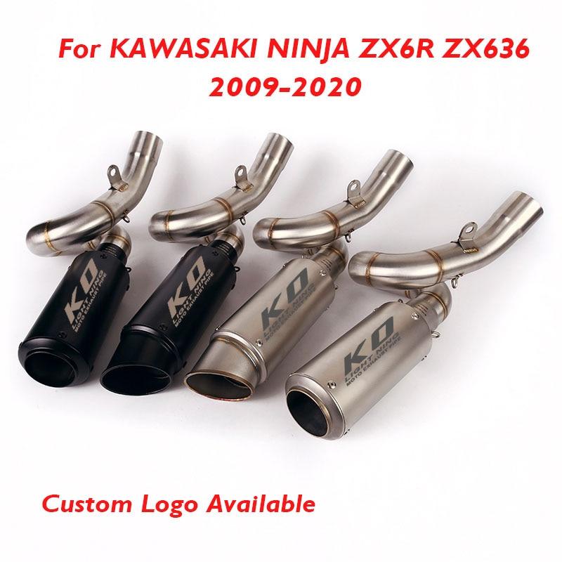 Выхлопной глушитель Ninja ZX6R для мотоцикла, выхлопная система, глушитель для Kawasaki Ninja ZX6R 2009-2020, слипон, соединительная линия, средняя труба