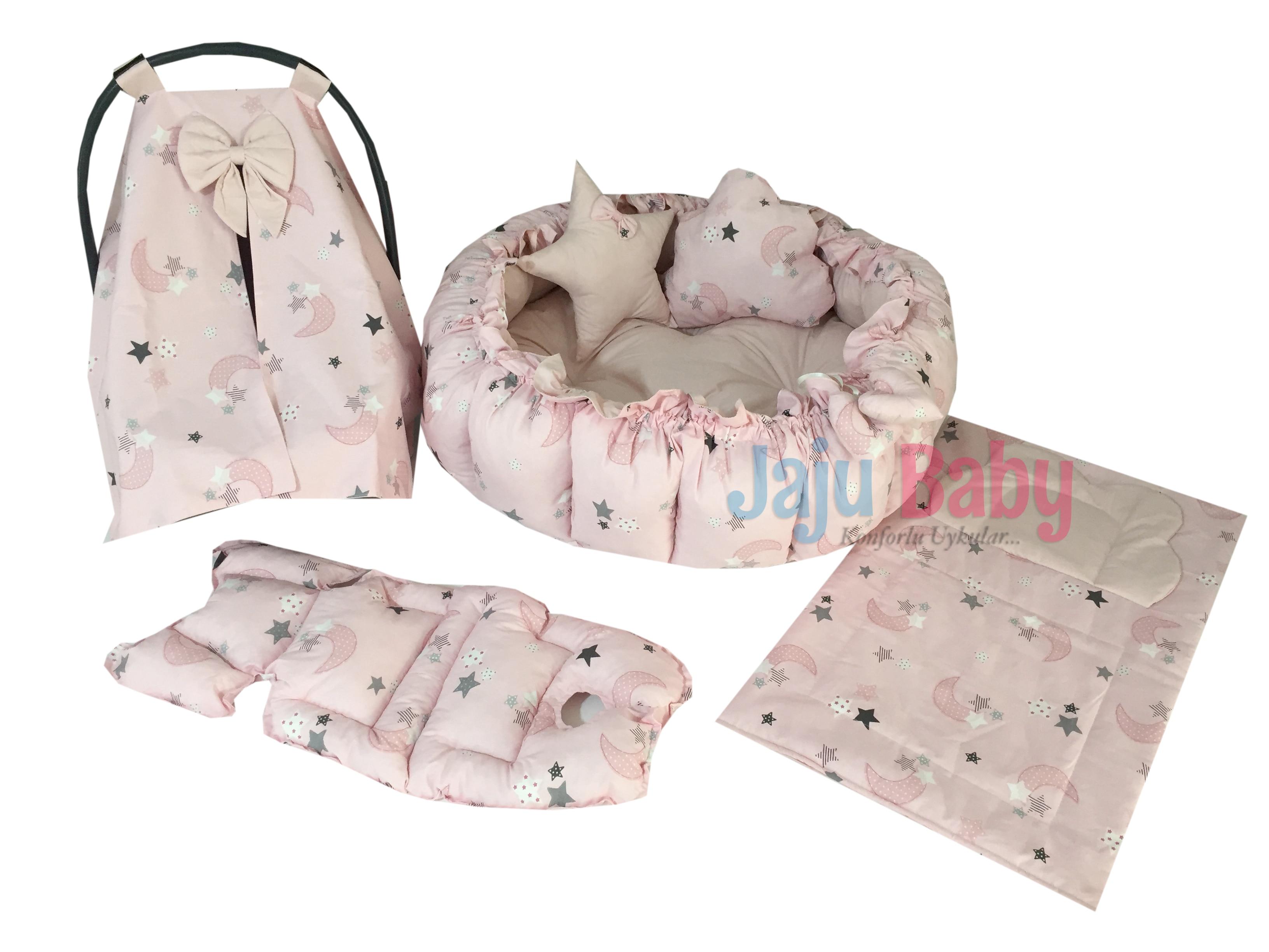 Jaju الطفل الوردي القمر نمط مجموعة تصميم فاخر تلعب حصيرة Babynest ، طوي مرتبة السرير للطفل ، Playmat ، فراش ، مرتبة السرير للطفل ،