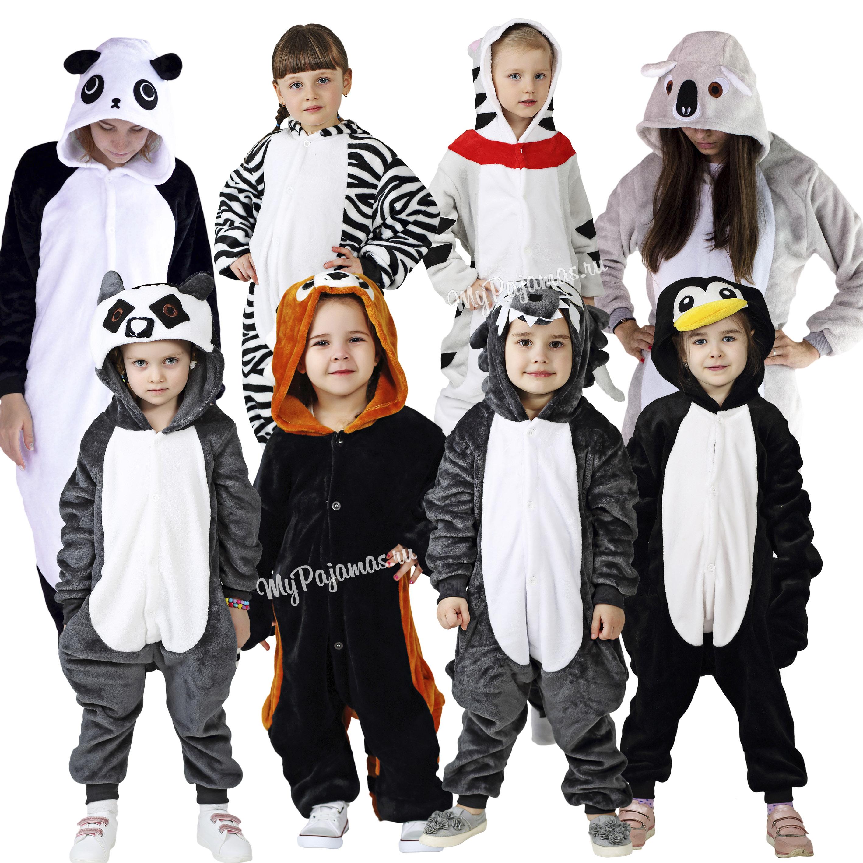 Pajamas Kigurumi children's animal cat чии, Penguin, lemur, wolf, red panda, zebra, koala, baby pajamas.