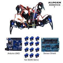 Arduino UNO R3 Spinne Roboter Sensor Schild Vier Led SG90 Servo Control DIY Student Projekt Kit