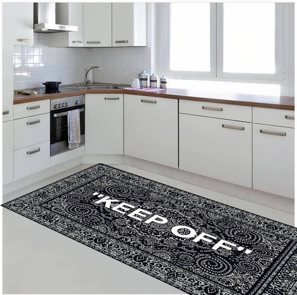 Keep Off-سجادة مطبخ منقوشة ، سجادة أرضية غير قابلة للانزلاق ، للمراهقين ، سجادة تركية ، منطقة ، حديثة لغرفة المعيشة
