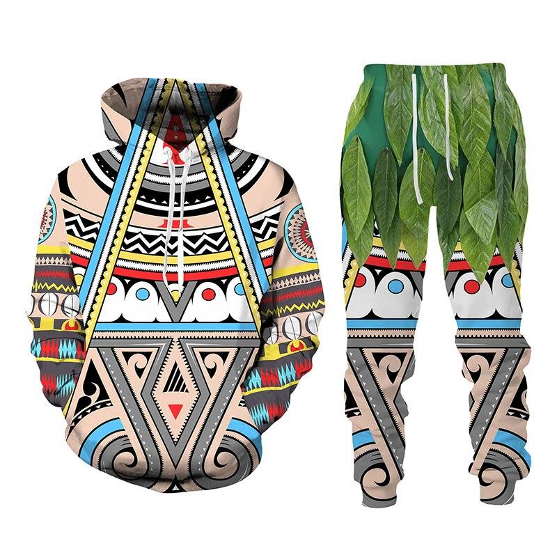 قبيلة بدائية للجنسين رياضية بلوزات ركض Sweatpants مجموعة ثلاثية الأبعاد طويلة الأكمام هوديي مضحك الإبداعية هدية