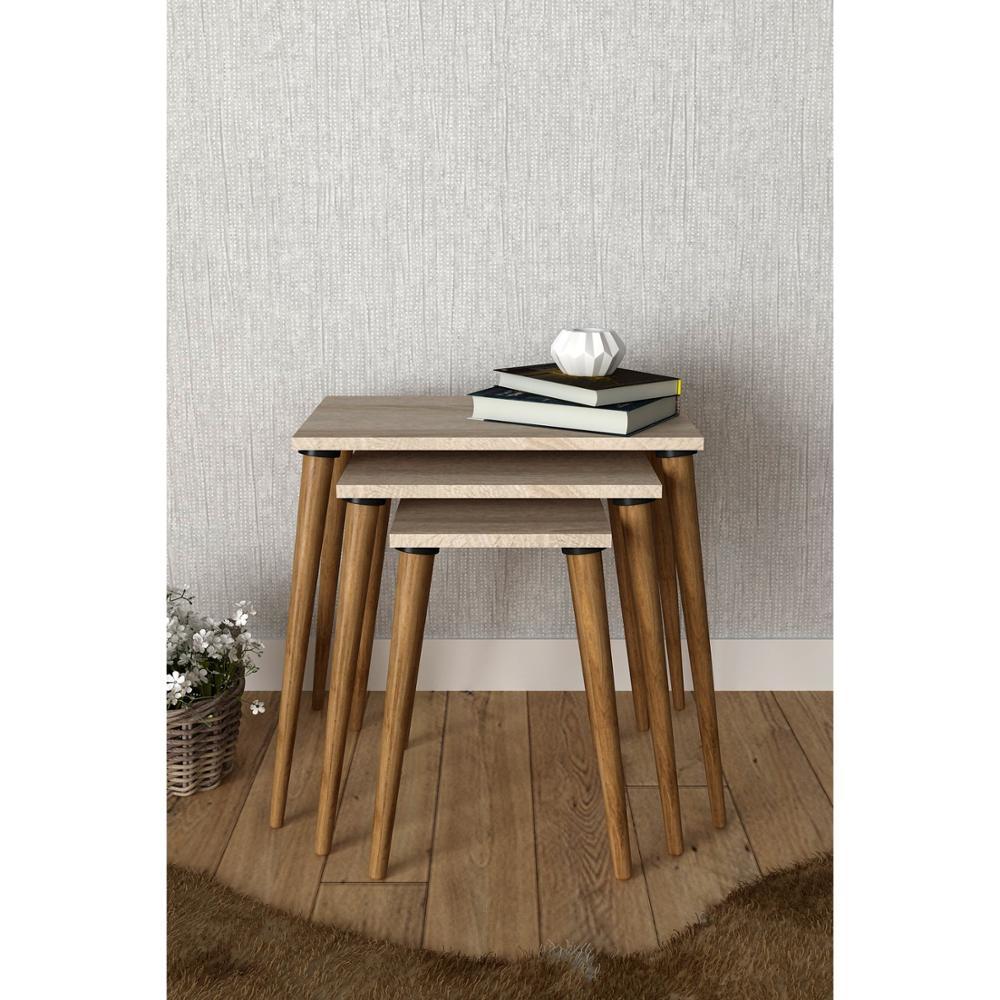 Сделано в Турции, 3 шт., журнальные столики, маленький современный практичный чайный столик из ореха для гостиной, деревянные аксессуары для ...