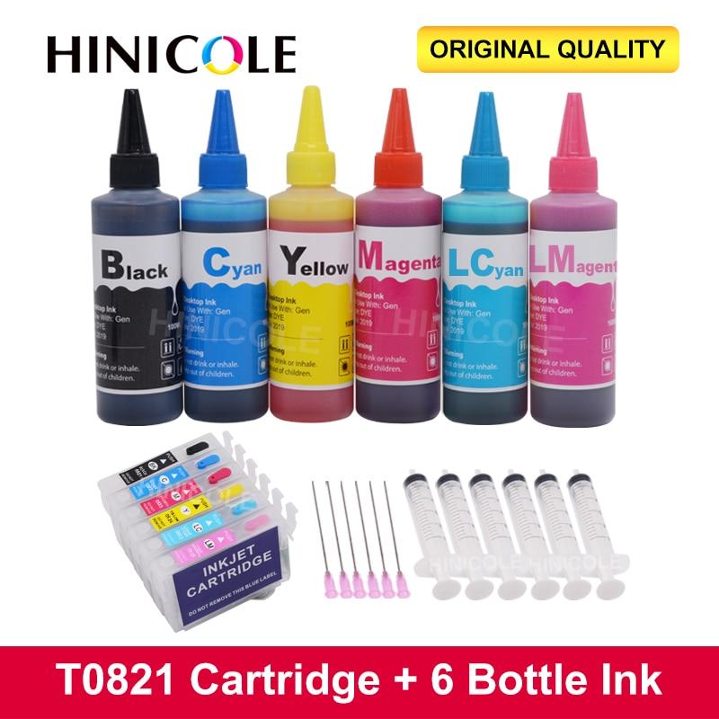 HINICOLE T0821-T0826 XL إعادة الملء خراطيش الحبر + 6 × 100 مللي زجاجة الحبر لإبسون ستايلس فوتو T50 R290 R295 R390 RX590 RX610