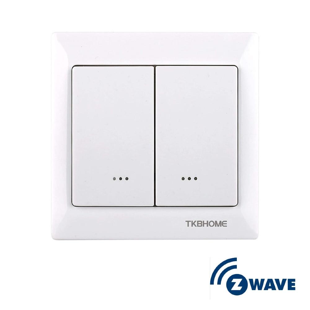 Z-Wave TKB настенный выключатель встроенное Одно реле 2 кнопки EU Freq 868MHz 220V AC Dual Paddle TZ56D