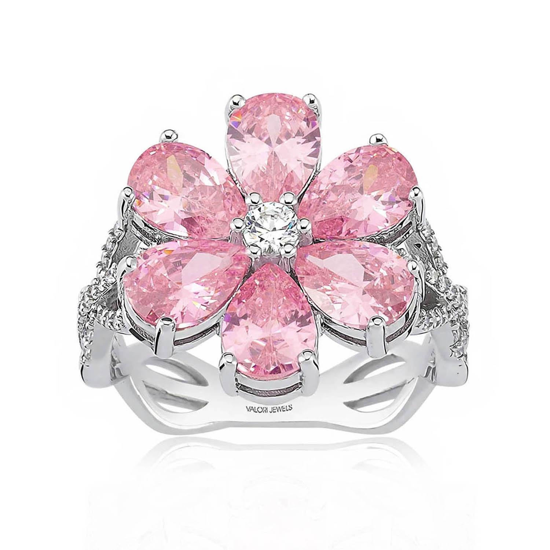 Get Valori Jewels Magnolia Flower Ring, 4 Ct Zircon Pink Pear Gemstone, Rhodium Plated, 925 Silver, Fine Jewelry