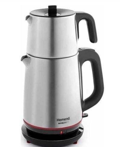 Homend 1711 Royaltea 2000 واط إبريق الشاي الكهربائي الصلب | الشاي التركي | ماكينة إعداد الشاي | سخان مياه | إبريق الشاي | حياة الشاي الساخن أسهل ل