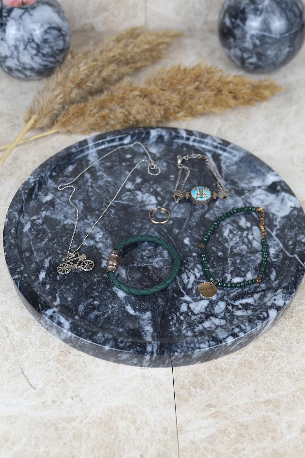 Nordic 25cm Black real natural marble tray bathroom storage round jewelry box kitchen dish dispenser luxury Tiss enlarge
