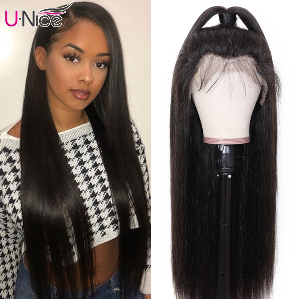 Unice Hair Bone Straight Hair 5x5 HD Lace Closure Wig 13x4 Brazilian Straight Glueless Lace Front Human Hair Wigs With Baby Hair