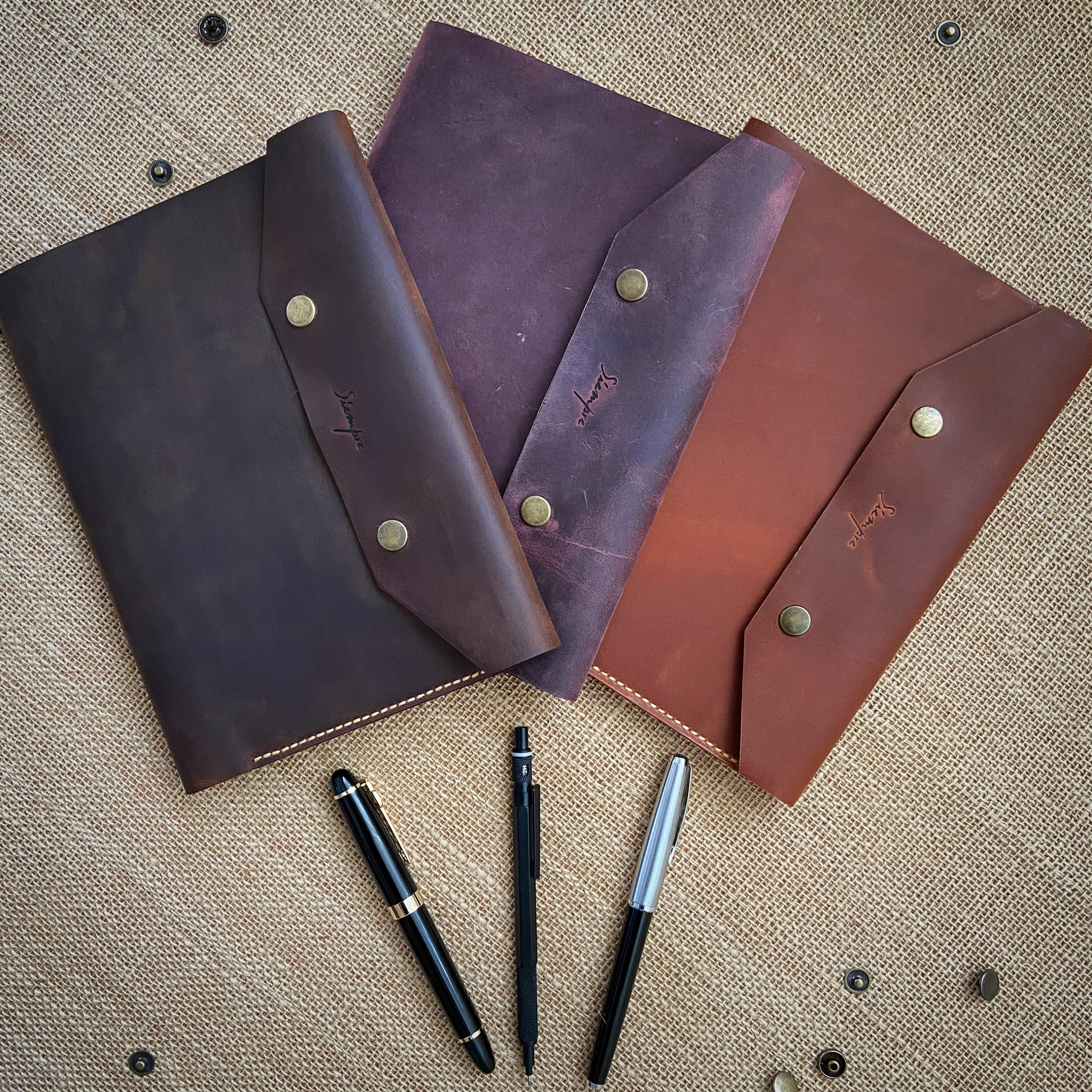 PERSONALIZED Handmade Leather A5 Organizer   Business Planner, Daily Organizer, Task Organizer, Notebook Father's Day Gift