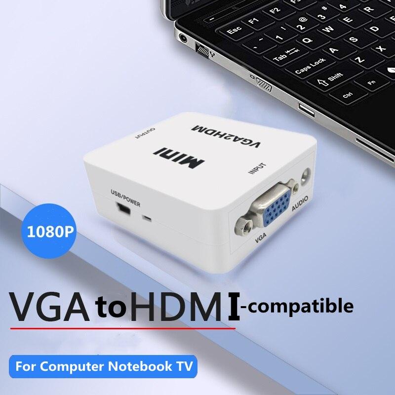 BSLIUFANG-Adaptador convertidor VGA a HDMI compatible con 1080P, adaptador VGA para PC...