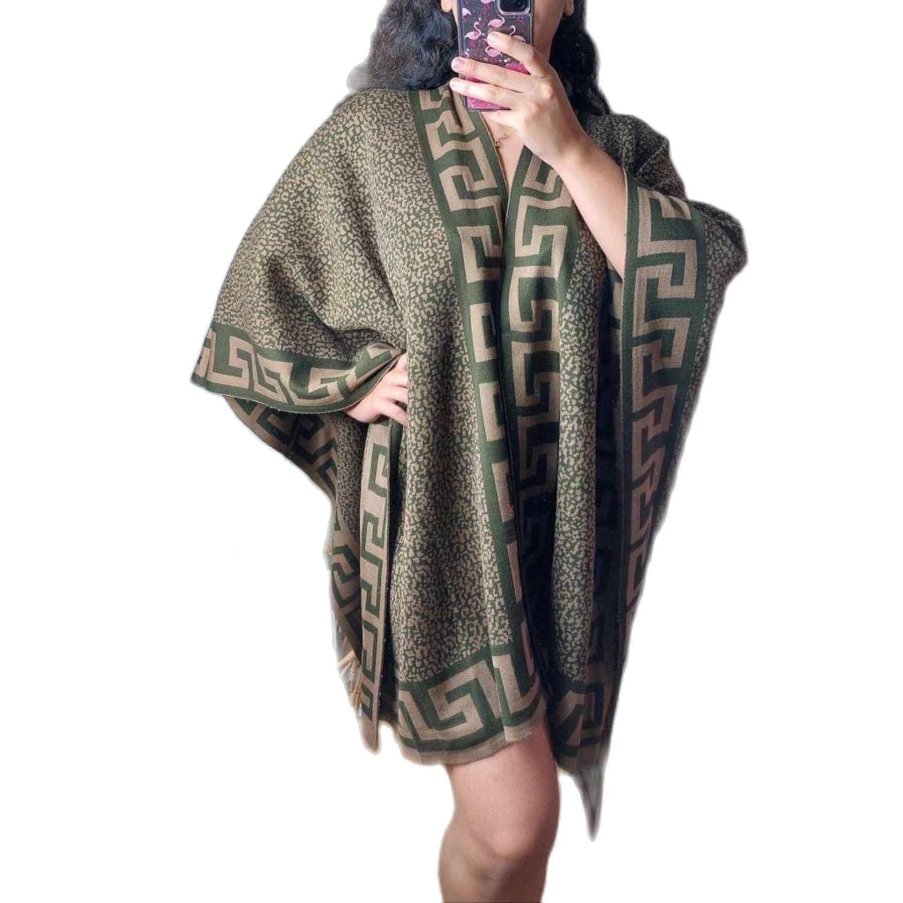 منقوشة المرأة Pancho ماكسي شال قطعة واحدة سميكة حجم كبير الخفافيش الجناح كنزة بمقاس كبير حجم واحد تركيا 2021 Fashion