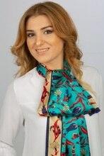 صنع في تركيا ٪ 100 وشاح حريري نقي شو الأزرق أصيلة التركية منقوشة المرأة الأوشحة الطويلة وشاح للرقبة Foulard منديل