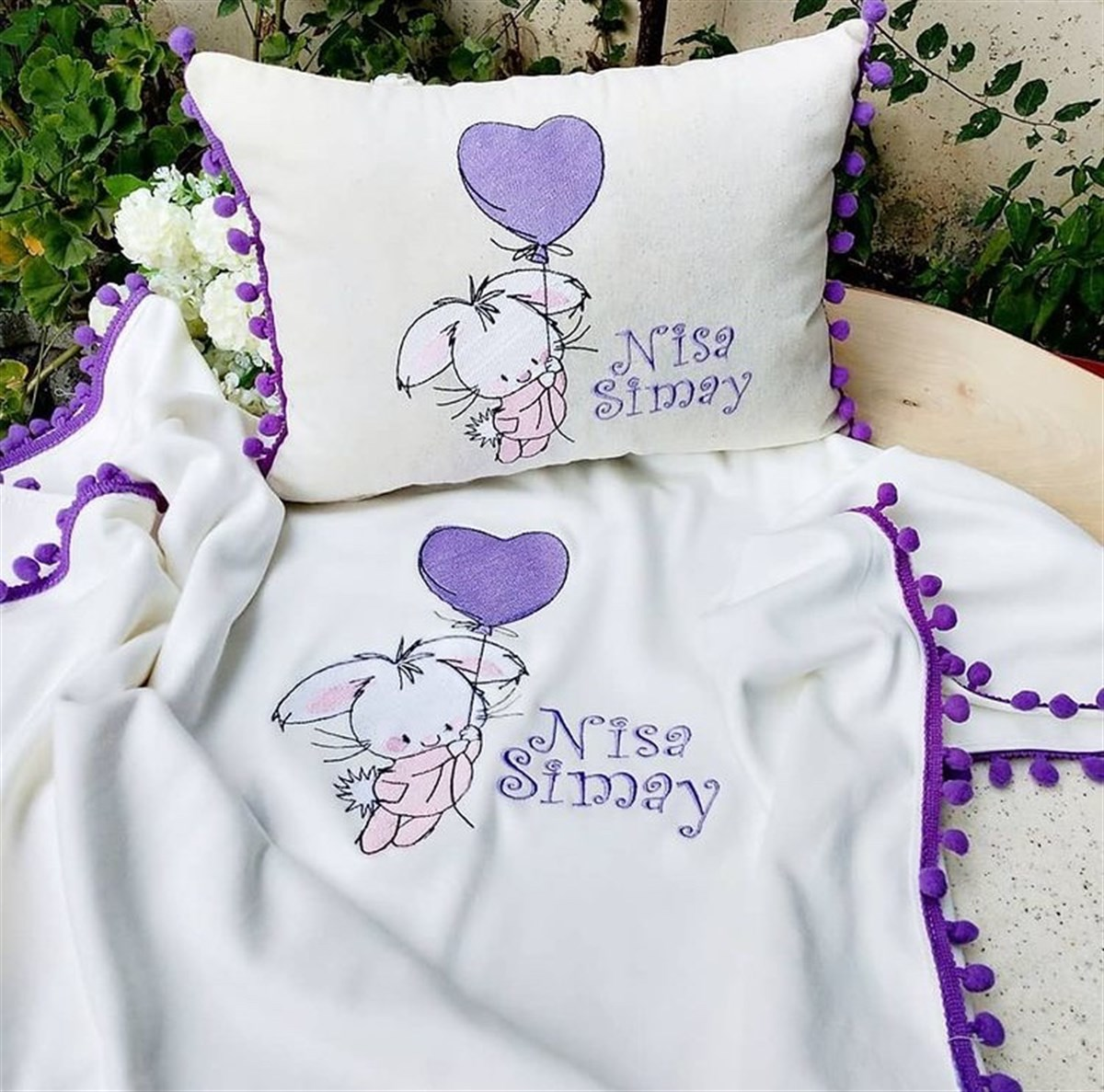 Jaju Baby Handmade Rabbit And Name Embroidered Baby Pillow and Coverlet