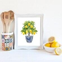Lemon Print Chinoiserie Planter Bonsai Canvas Painting Zen Decor Oriental Art Blue White Willow Style Lemon Poster Kitchen Decor