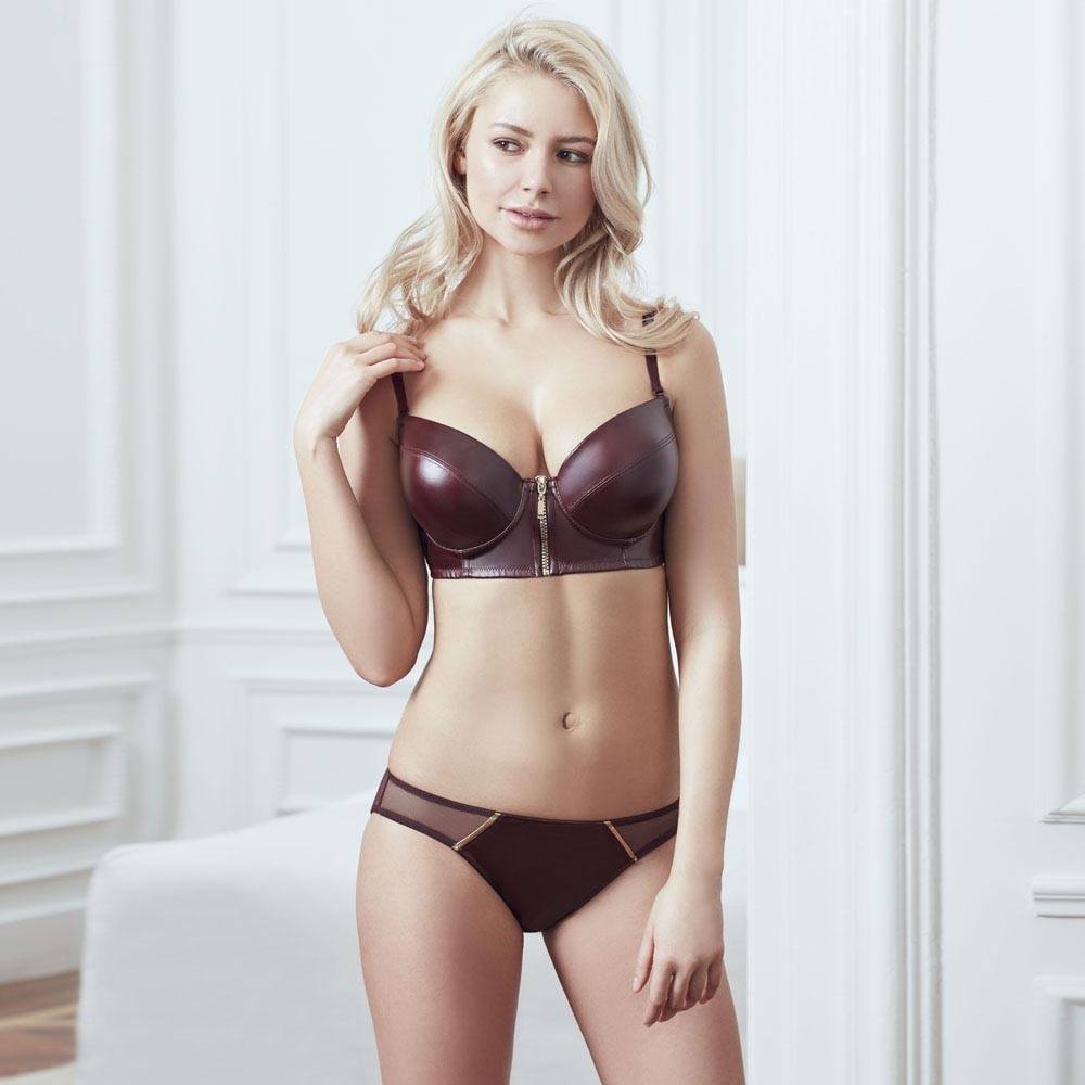 Very Sexy Leather Look Damson Color Underwire Padded Zipper Bustier Bra Panty Lingerie Set for Women