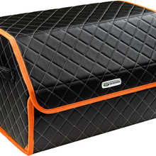 Organizer bag in the car trunk of eco-leather black with gray thread vicecar (orange edging) with Land Rover logo